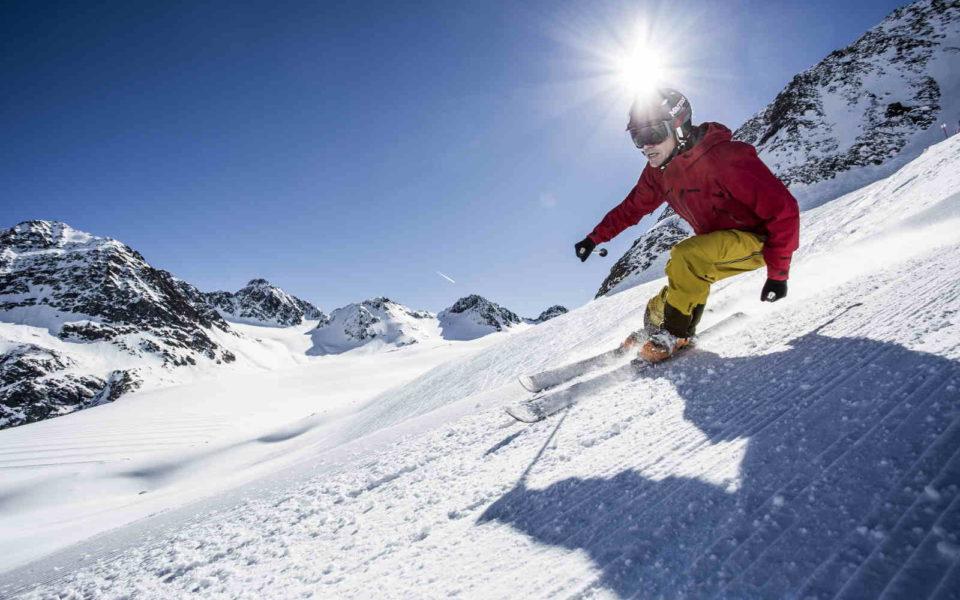 Skifahrer Pitztal Gletscher Ferienwohnung